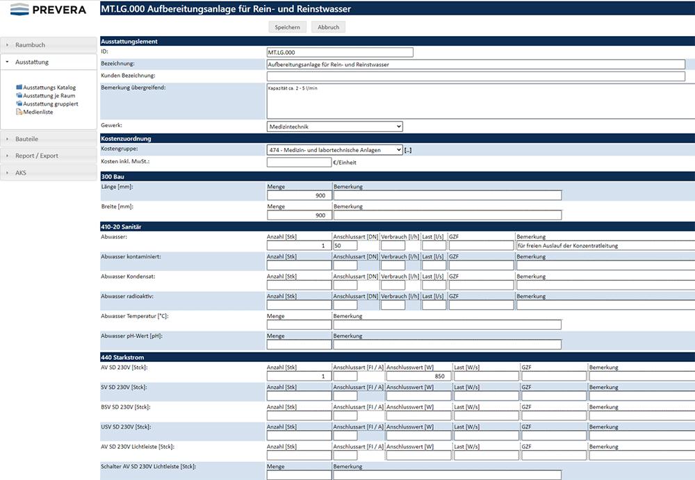 PREVERA Datenbank für Medizin- und Labortechnikplanung